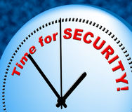 Time For Security Represents Just Now And Currently Stock Photos
