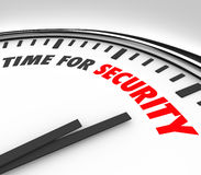 Time for Security Words Clock Safety Manage Risk. Time for Security words on a white clock face to illustrate the need to increase precautions and mitigate risk Royalty Free Stock Photo