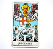 Judgement Tarot Card Transformation Rebirth Renewal. It is a time for self-judgement and you must ask whether you are being too easy or too hard on yourself Stock Photos