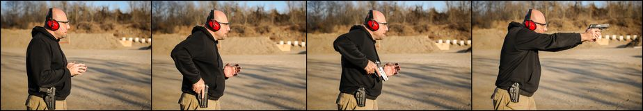 Time sequence of man pulls out a gun at outdoor shooting range. Pistol and weapons training stock photo