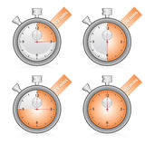 Time set. In 15 minutes each chronometer Stock Illustration