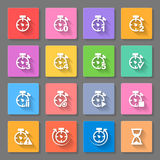 Time - set of flat icons. Time. Set of flat icons with long shadows for web design and applications Stock Illustration