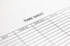 Time Sheet. Blank Time Sheet ready to be filled with hours and overtime Royalty Free Stock Photos