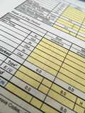 Time sheet. Close-up photo of a completed time sheet stock image