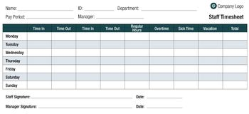 Time Sheet Template Table For Employees Royalty Free Illustration