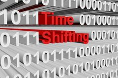 Time shifting. In the form of binary code, 3D illustration Royalty Free Stock Photo