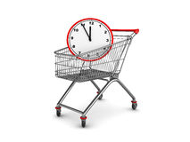 Time shopping. Abstract 3d illustration of shopping cart with clock inside Stock Photo