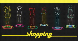Time for shopping!. Signboard of new fashionable shop of clothes Royalty Free Illustration