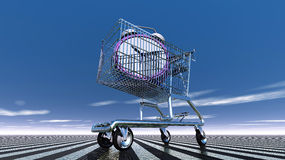 Time in shopping cart. Time in the basket against a blue sky Stock Images