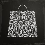 Time for shopping. Vector calligraphic lettering inscription with ornamental elements advertising drawn on the chalkboard. Time for shopping Stock Images