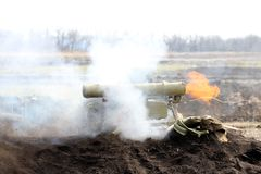 The time of the shot of ATGM, anti-tank guided missile. Ukraine and Donbass conflict stock photos
