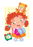 The time of the sleep. Colored illustration of an illustration for children Royalty Free Stock Photo