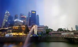Time slice of Singapore Marina Bay Stock Photos