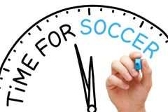 Time For Soccer Clock Concept Royalty Free Stock Images