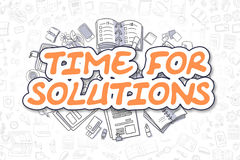 Time For Solutions - Cartoon Orange Text. Business Concept. Royalty Free Stock Photos