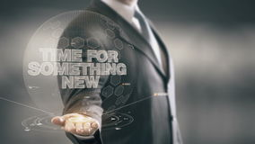 Time For Something New Businessman Holding in Hand New technologies stock footage