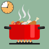 Time of soup preparation. Red cooking pot on stove with water and steam. Time of soup preparation Stock Photography