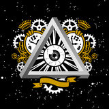 Time And Space. Coat Of Arms With Eye Royalty Free Stock Images