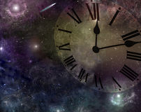 Time and Space. Deep space with image of clock face merged into the scene Stock Photo