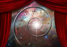 Time and space. Spiral of time in endless space behind red curtains. Some elements image credit NASA Stock Images