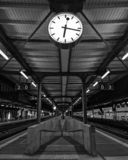Time in space time in the train station stock image