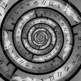 Time Spiral. An infinite time spiralling clock Royalty Free Stock Image