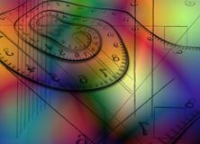 Time spirals. Colorful abstraction. Time spirals and geometric figures. 3D rendering Stock Photos