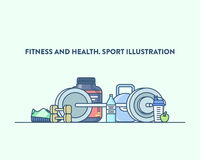 Time for sport and healthy lifestyle. Vector. Illustration of a gym equipment on a light blue background. Sports, fitness and recreation concept Stock Image