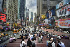 Time square. Traffic and people on time square Stock Image