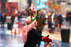 Time Square Christmas Freak. Freak Christmas Time Square New York Royalty Free Stock Image