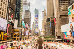 Time Square Manhattan, New York City. Time square crowded with tourist from around the world Royalty Free Stock Photos