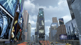 Time Square New York Manhattan. 3D rendering. 3D rendering of a road on Time Square New York Manhattan. The images on the screens on the background are royalty free illustration