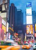 Time Square på skymning Arkivbild