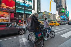 Times Square, New York City. Traffic, Taxi Car, Street View royalty free stock photos