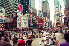 Time square with yellow taxi, New York Royalty Free Stock Photos
