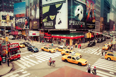 Time square with yellow taxi, New York Stock Images