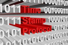 Time stamp protocol. In the form of binary code, 3D illustration Stock Image