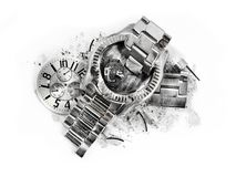 Time stops smashed wrist watch. Time stops, stands still on closeup of a smashed and damaged silver steel wrist watch Royalty Free Stock Image