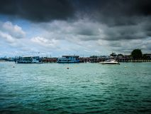 At the time of the storm over the sea. royalty free stock images