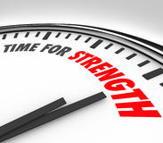 TIme for Strength Clock Strong Skills Advantage. Time for Strength words on a clock face to illustrate a deadline or countdown to show your skills and abilities Royalty Free Stock Photography