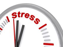 Time of stress. Gray clock with white face where the 12 o'clock position has been replaced by bold red letters spelling ' Stress ' on white background Stock Images