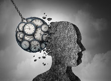 Time And Stress. And business pressure concept as a group of clock objects destroying cement shaped as a human head as a work fatigue and exhaustion metaphor vector illustration