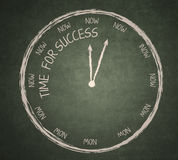 Time for success on blackboard. Time for success written on blackboard with a clock Royalty Free Stock Image
