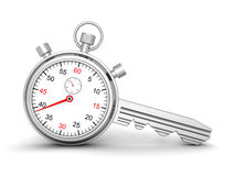 Time For Success. Concept Stopwatch With Lock Key Royalty Free Stock Photo