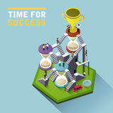 Time for success flat 3d isometric infographic Royalty Free Stock Photo