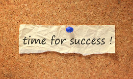 Time for success sign. On corkboard attached with thumbtack Royalty Free Stock Images