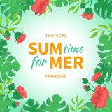Time for summer. Flowers and buds of hibiscus, leaves monstera and palm. Tropical template design. Exotic background. Vector illustration Royalty Free Stock Images