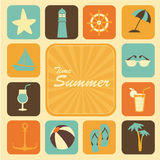Time summer icons. Time summer  icons over cream background vector illustration Royalty Free Stock Photos