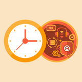 Time support and call center work. Red color Stock Photo
