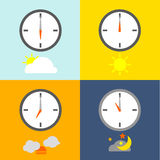 TIME TABLE. Clocks show 4 times for people routine and the sky icon show indicate the time as usual Stock Images